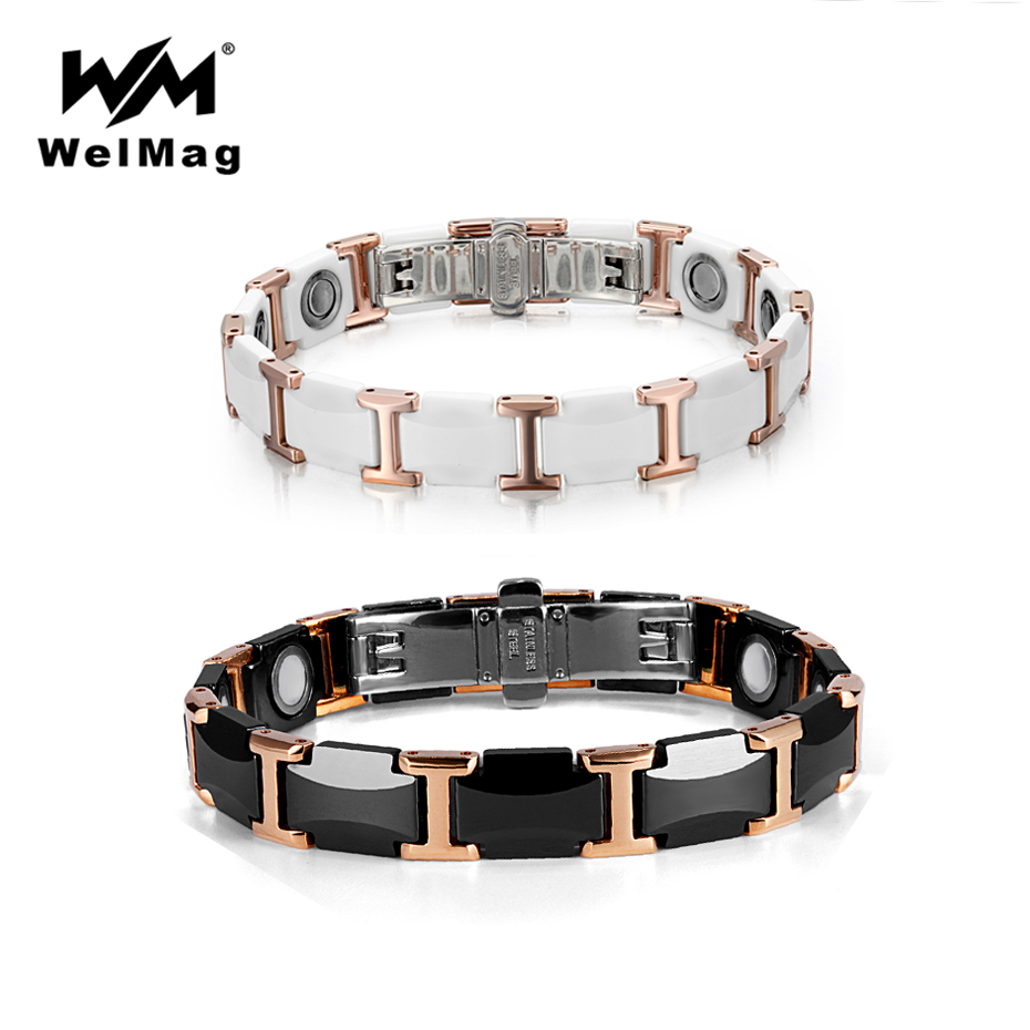 WelMag Couple Tungsten Ceramic Bracelet Strong Magnetic Bracelets Bangles Health Energy Wristband for Women Men Luxury
