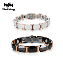 WelMag Couple Tungsten Ceramic Bracelet Strong Magnetic Bracelets Bangles Health Energy Wristband for Women Men Luxury Jewelry