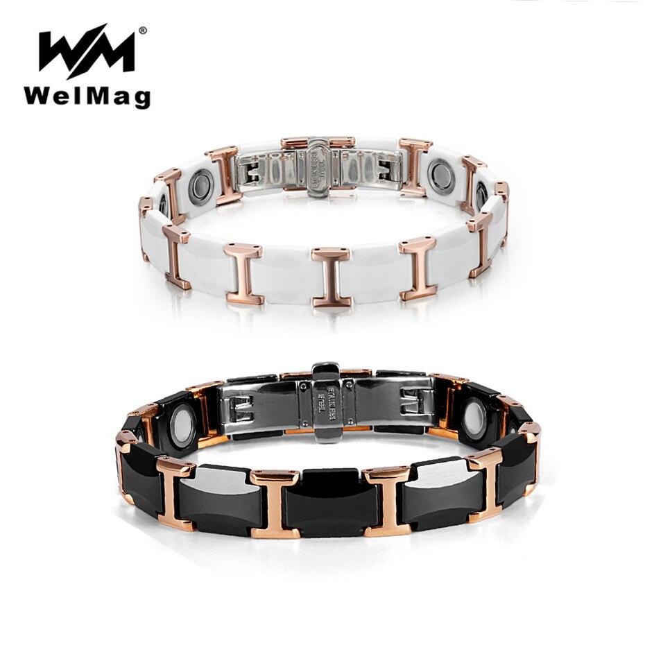 WelMag Couple tungstène Bracelet en céramique Bracelets magnétiques forts Bracelets santé énergie Bracelet pour femmes hommes bijoux de luxe