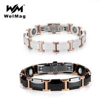 WelMag Paar Wolfraam Keramische Armband Sterke Magnetische Armbanden Bangles Gezondheid Energie Polsband voor Vrouwen Mannen Luxe Sieraden