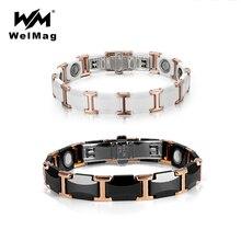 WelMag pulsera magnética de cerámica de tungsteno para hombre y mujer, brazalete de energía para la salud, joyería de lujo