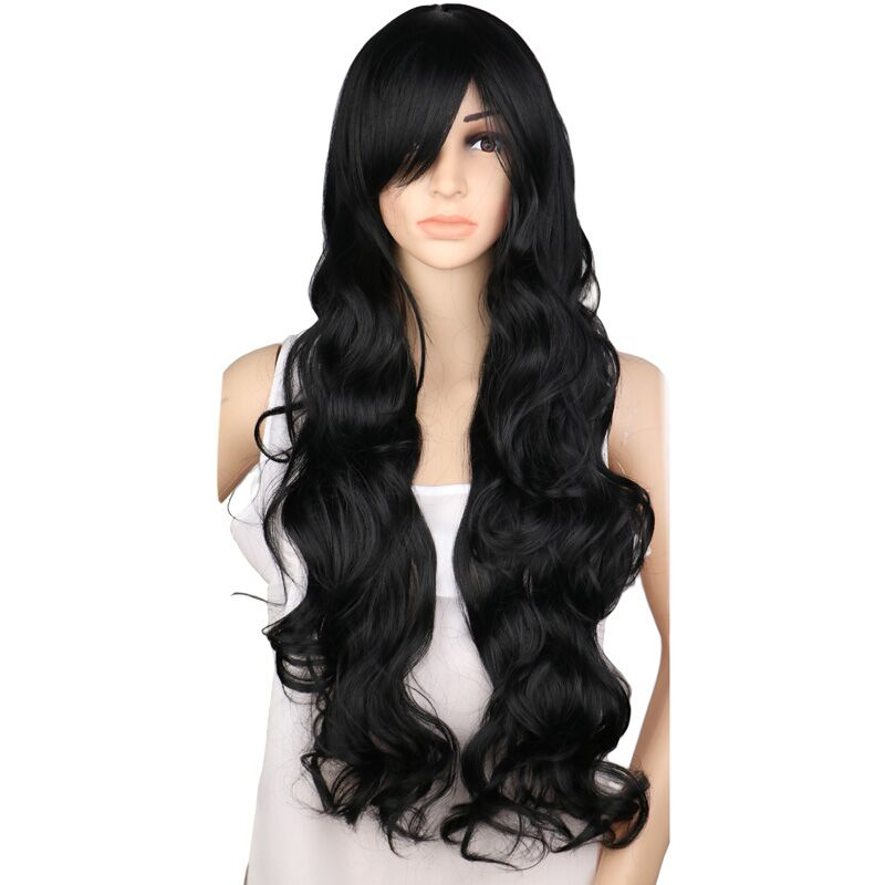 QQXCAIW Long Curly Cosplay Wig Party Women Natrual Black 70 Cm High Temperature Synthetic Hair Wigs