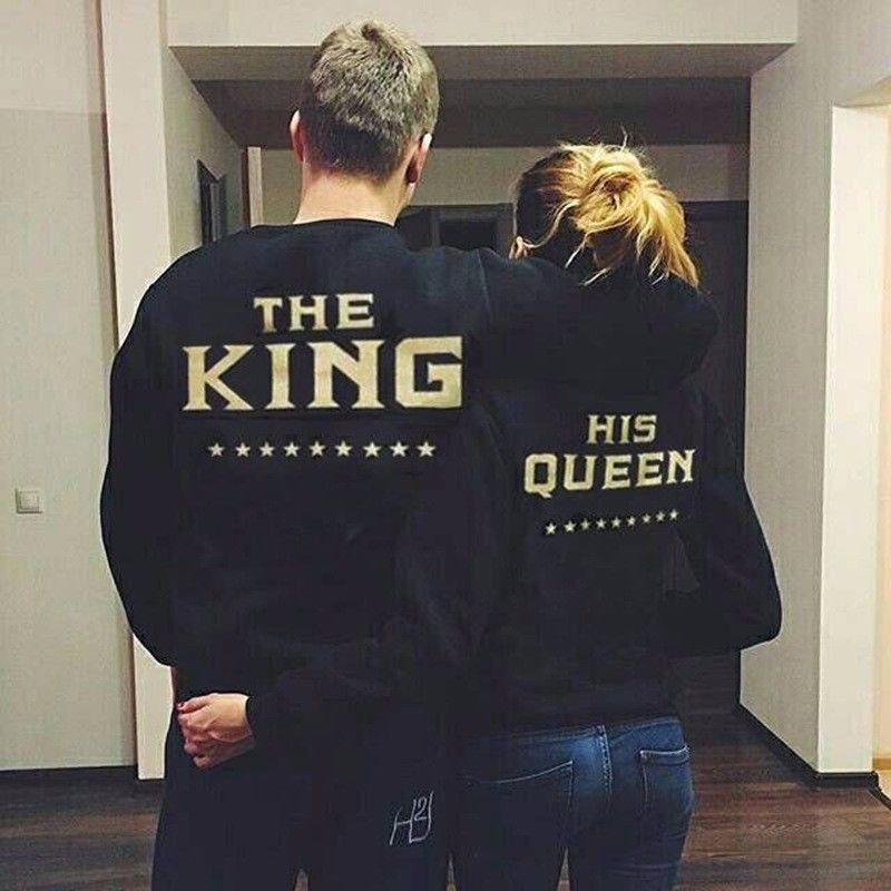 Unisex Couple Tops Blouses Long Sleeve Autumn Winter Cotton The King and Queen Love Matching Shirts Couple Sweater