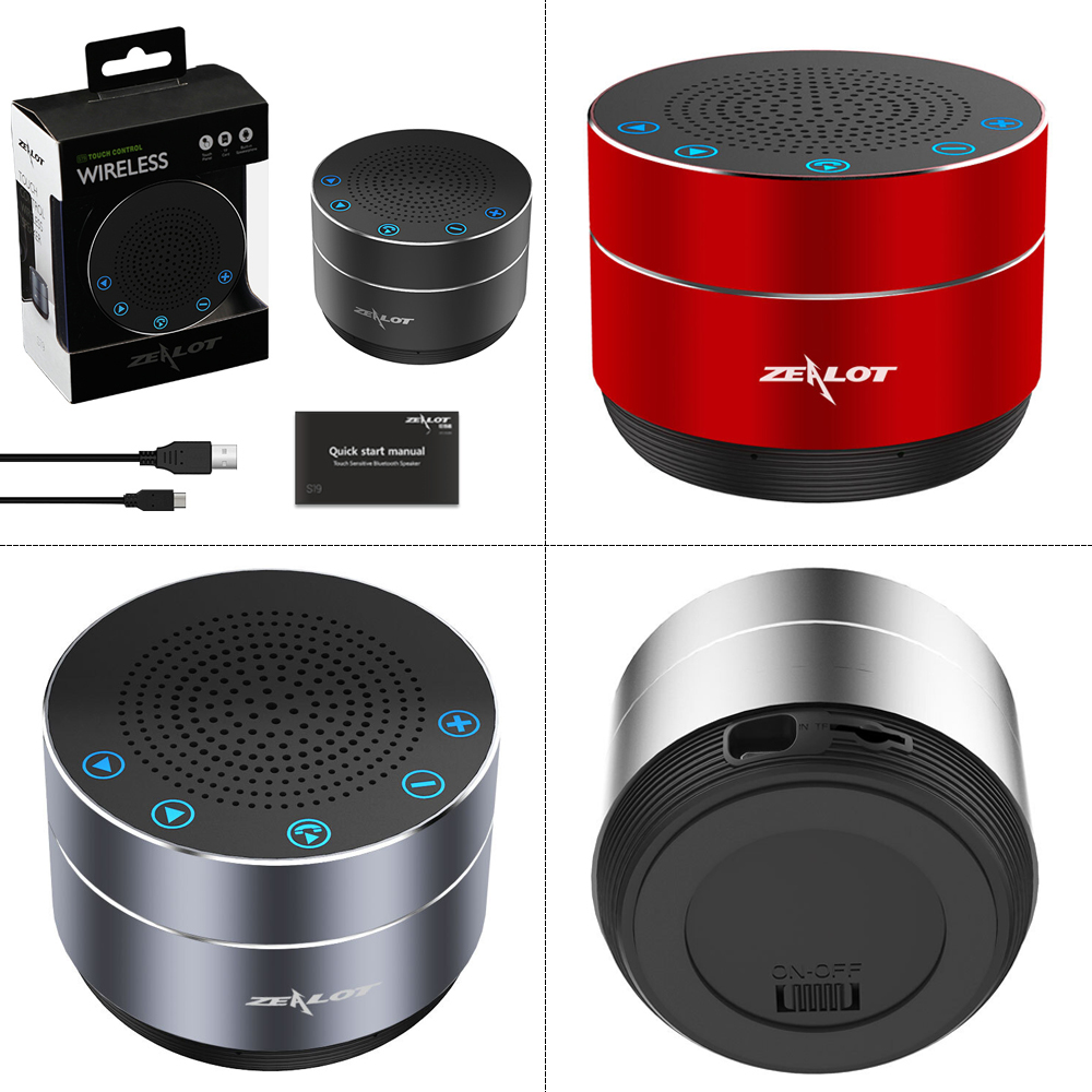 fed9f27aab20b2 ZEALOT S19 Portable Bluetooth Speaker Wireless Super Bass Stereo Subwoofer  Touch Control USB TF Card MP3
