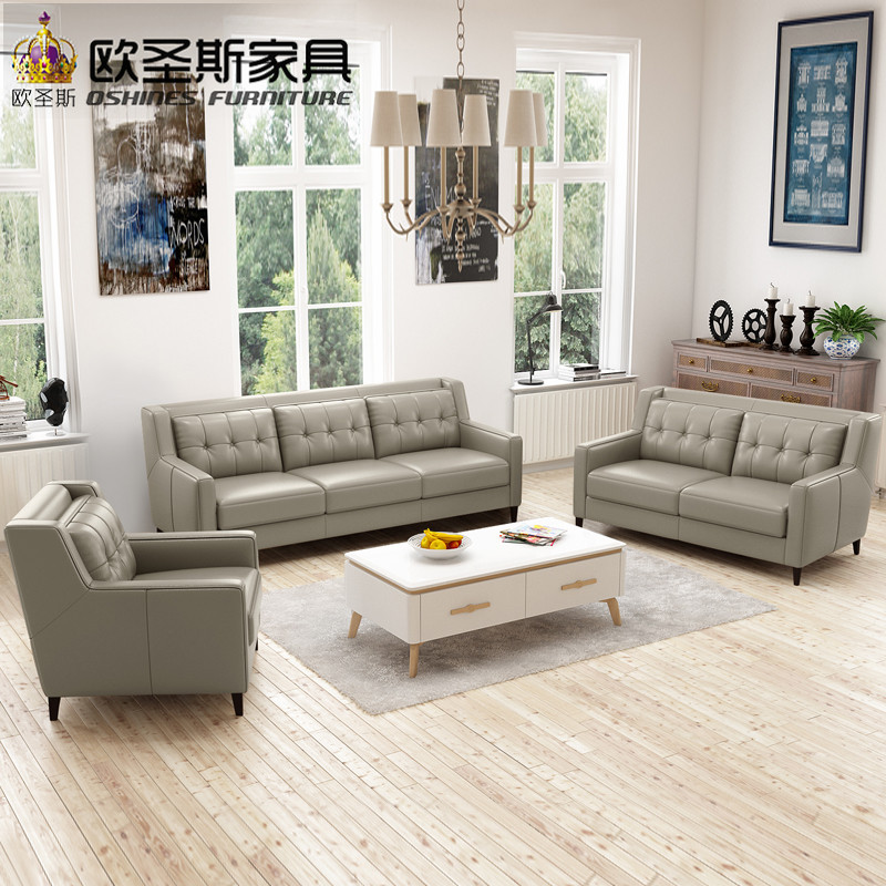 Spanish Hotel Restaurant Lobby Relax Chesterfield New American Style Simple Design Antique 123 Sex Italy Leather Sofa Set F76A