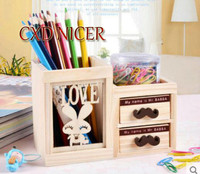 Fashion Tower Beard Desktop Hollow Wooden Pen Holder Office Stationary Supplies Accessories Double Drawer Pencil Holder