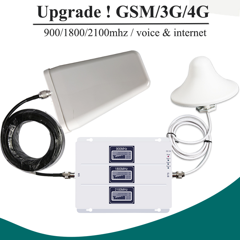 AGC GSM 900 UMTS 2100 LTE 1800 Tri Band Cell Phone Signal Repeater 2G 3G 4G Mobile Celular Signal Booster Amplifier Set S8-2AGC GSM 900 UMTS 2100 LTE 1800 Tri Band Cell Phone Signal Repeater 2G 3G 4G Mobile Celular Signal Booster Amplifier Set S8-2