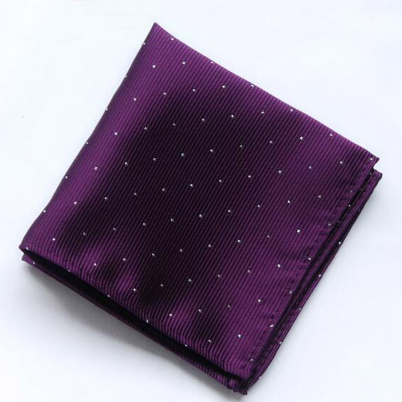 Classic 24*24cm Men's Polka Dot Handkerchief Silk Satin Polyester Pocket Square Towel Jacquard Woven  Men Accessory Business
