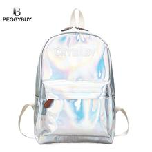 Street Hip Hop Holographic Backpack Women Letters Laser Hologram PU Leather Girls Bag Travel School Backpacks