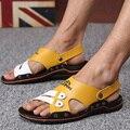 DreamShining Verano Sandalias Masculinas de Los Hombres de LA PU Zapatos de Cuero Sandalias de Punta Abierta Zapatillas Zapatos Casuales de Playa Tamaño 38-44