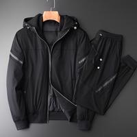 Minglu мужской пуховик наборы для ухода за кожей Роскошные зимние толстые с капюшоном белая утка мужские пуховые пальто 2 шт. (куртка + брюки дев