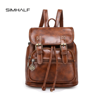 SIMHALF Fashion Women Fashion Designer Brand Backpacks Vintage Leather Shoulder Bag Retro Small Lady Schoolbag Mochila