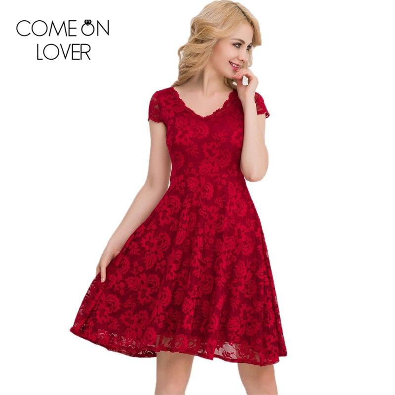 Us 2495 38 Offve1048 New Elastic Summer Dress Young Girl Lace Skater Dress Knee Length V Neck Fashion Lace Dress Short Sleeve Women Dress In