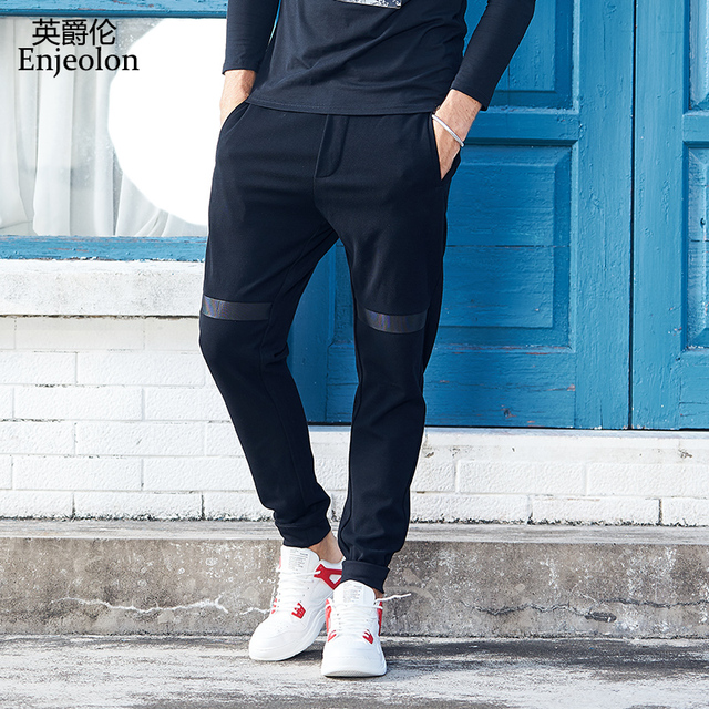 Enjeolon brand new winter long trousers pants men black fashion sweatpants for men quality casual pants males clothes KZ6321 1