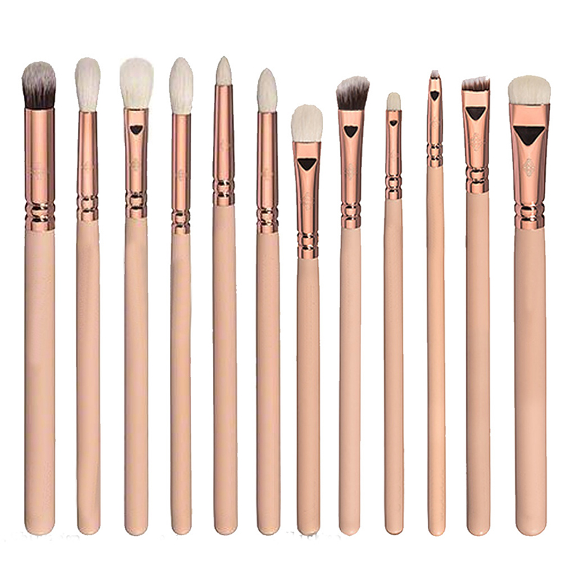 Pink Eyeshadow Brush Set 12pcs Makeup Brushes for Eye Eyeliner Blend Cosmetics Soft Synthetic Hair Make Up Brush