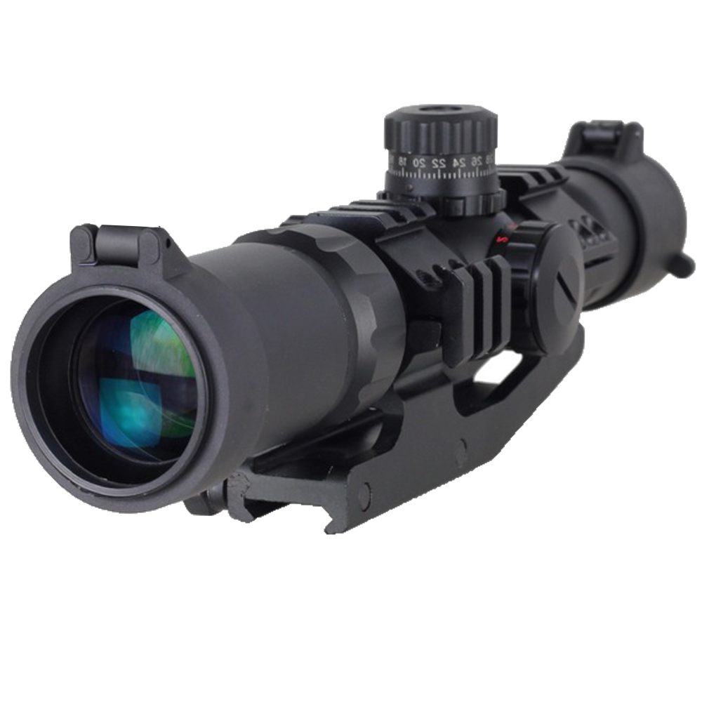 WIPSON Tactical 1.5-4x30 Tri-illuminated  Red Green Blue Mil-dot Reticle Rifle Scope riflescope Sight free shipping 4x 30mm red green mil dot reticle rifle scope with gun mount black 3 x ag13 1 x cr2032