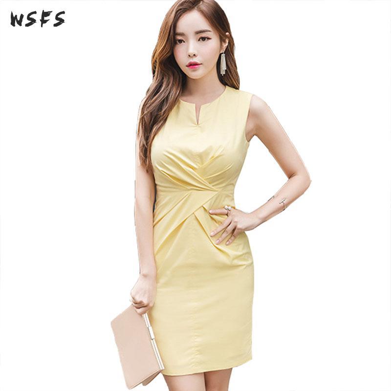 Summer Dresses Yellow Oneck Sleeveless Draped Women Dress 2018 Office Ladies Bodycon Sexy Party Korean Mini Pencil Sundress