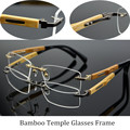 Factory Wholesale Ultra Light Pure Titanium Eye Glasses Rimless Bamboo Wood Glasses Frames Men