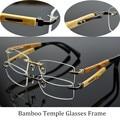 Factory Wholesale Ultra Light Pure Titanium Eye Glasses Rimless Bamboo Wood Glasses Frames Men