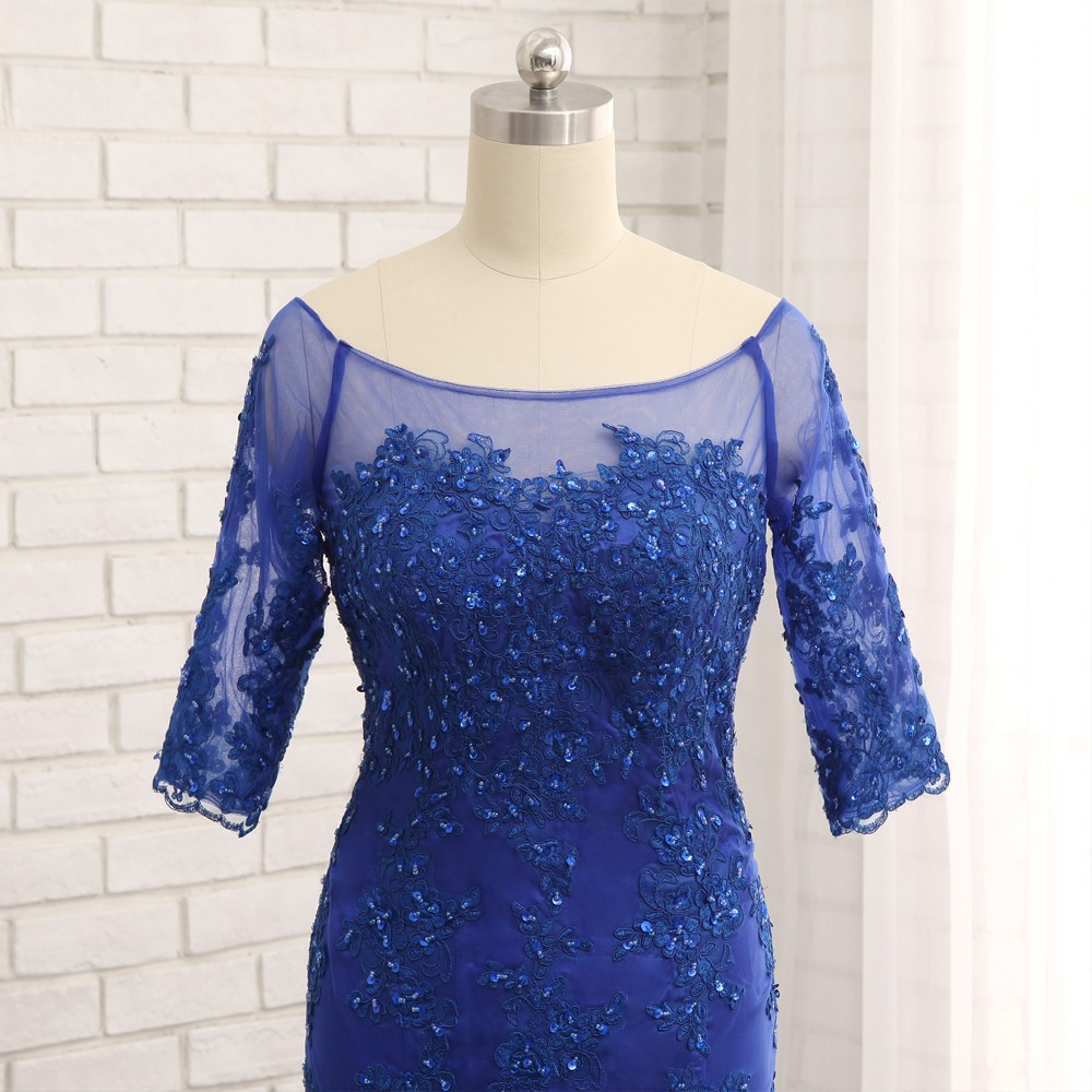 Royal Blue Mermaid Half Sleeves Tulle Beaded Mother Of The Bride Dress