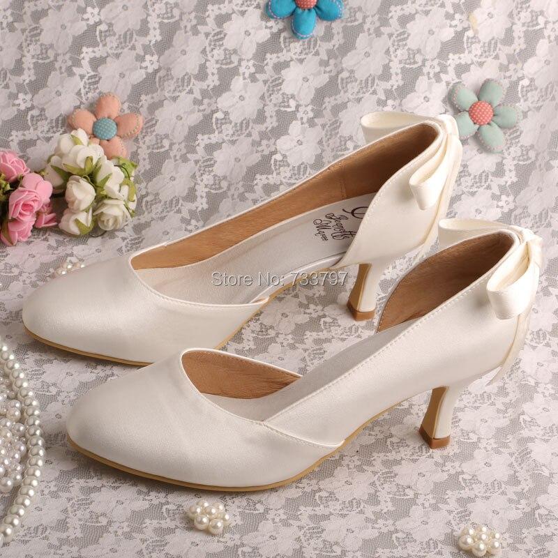 ФОТО Wedopus MW386 Ladies Ivory Heels Bridal Shoes Wedding Open Toe with Bowtie