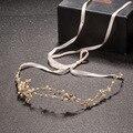 Hecho a mano de Oro de Cristal Tiaras Diademas Tocados Tocado de La Perla con La Cinta de La Boda Del Pelo Accesorios Nupciales de La Joyería 373