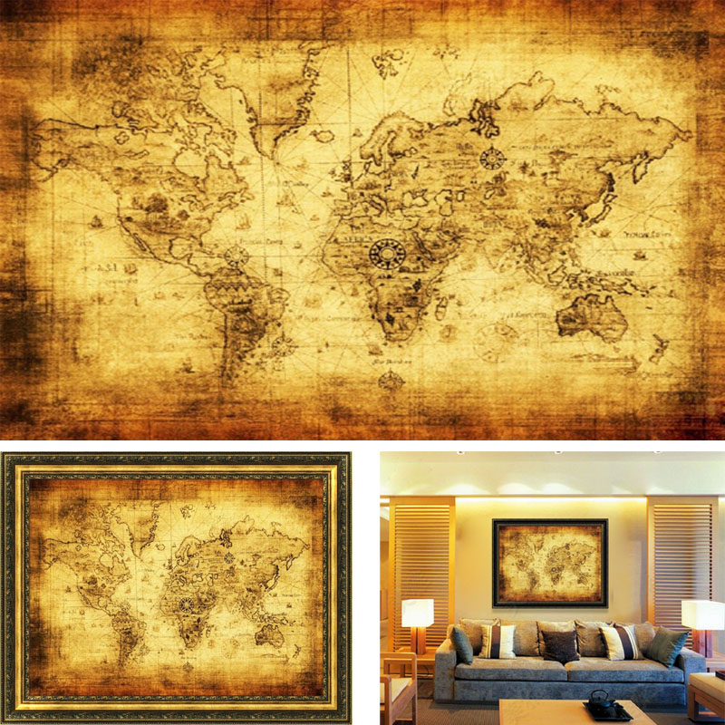 Ishowtienda large vintage world map home decoration detailed antique large vintage style world map home decoration detailed antique poster retro cloth poster globe old world gumiabroncs Image collections