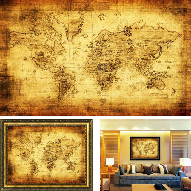 Large vintage style world map home decoration detailed antique large vintage style world map home decoration detailed antique poster retro cloth poster globe old world gumiabroncs Choice Image