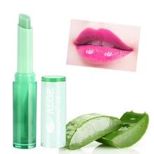 Hot Sales Moisturizer Lip Balm Makeup Aloe Vera Plant Nutritious Lipstick Women Temperature Chang Color Stick Protect