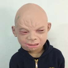 Wholesale High Quality Halloween Latex Crying Mask Baby Happy Costume