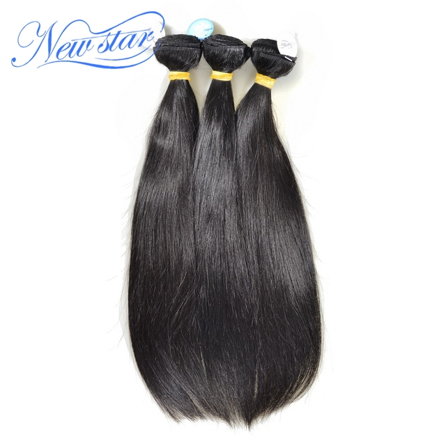 Venta caliente guangzhou new star pelo brasileño de la virgen del pelo recto 3 unids/lote teje extensiones de cabello humano de alta calidad
