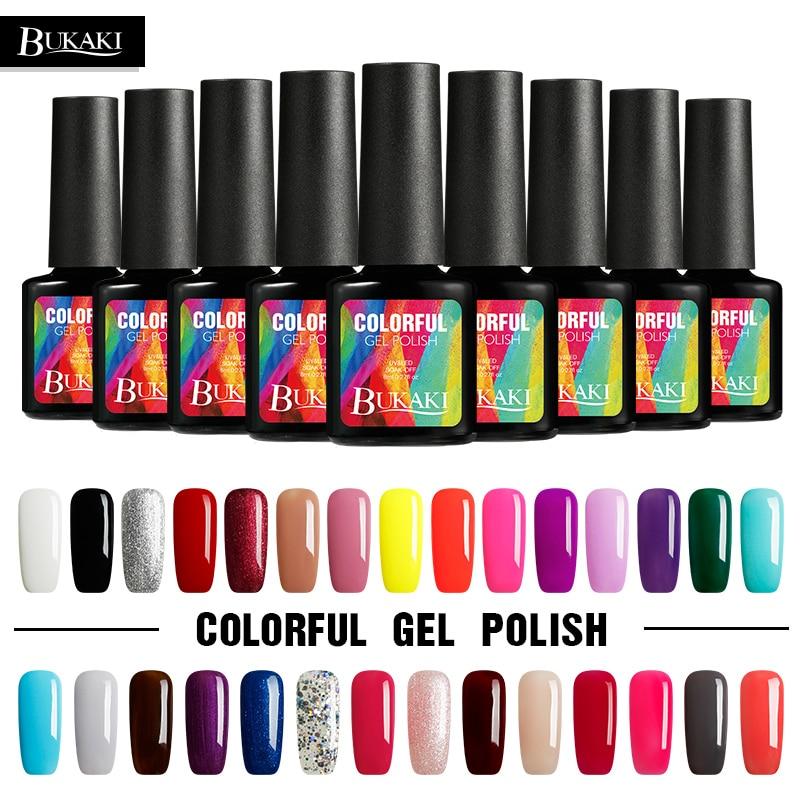 Bukaki Uv Soak Off Gel Nail Polish Long Lasting Nail Gel Varnish Diy 29 Glitter Colors Manicure Nail Gel Lacquer