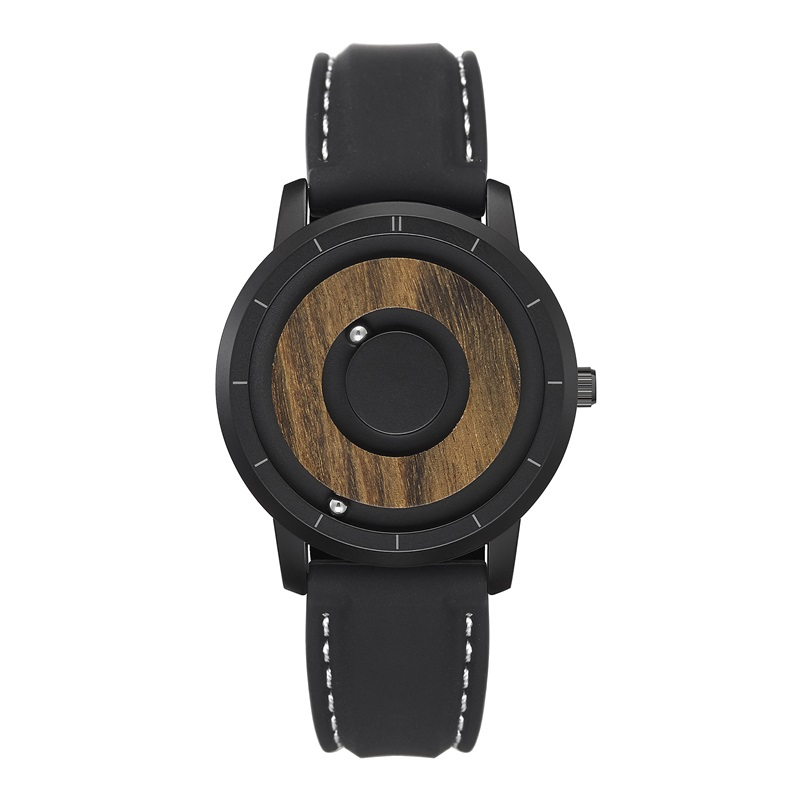 EUTOUR Quartz Watch Magnet Dial Wooden Minimalist Simple Casual Fashion Men title=