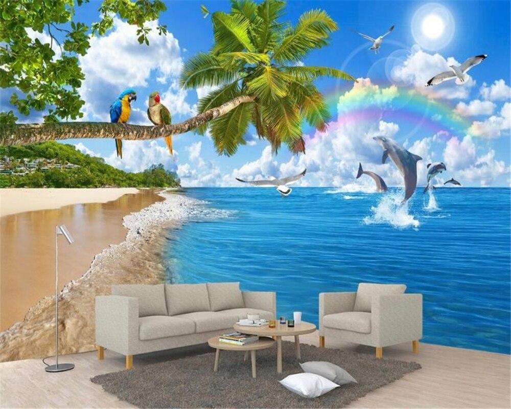 US $8 1 OFF Beibehang Premium Wall Paper Beautiful Seascape Coconut Tree Original Landscape Romantic Living Room Tv Background 3d Wallpaper 3d