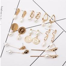 CXW Free shipping New aolly pearl pendant earrings for women simple and versatile with irregular metal A12