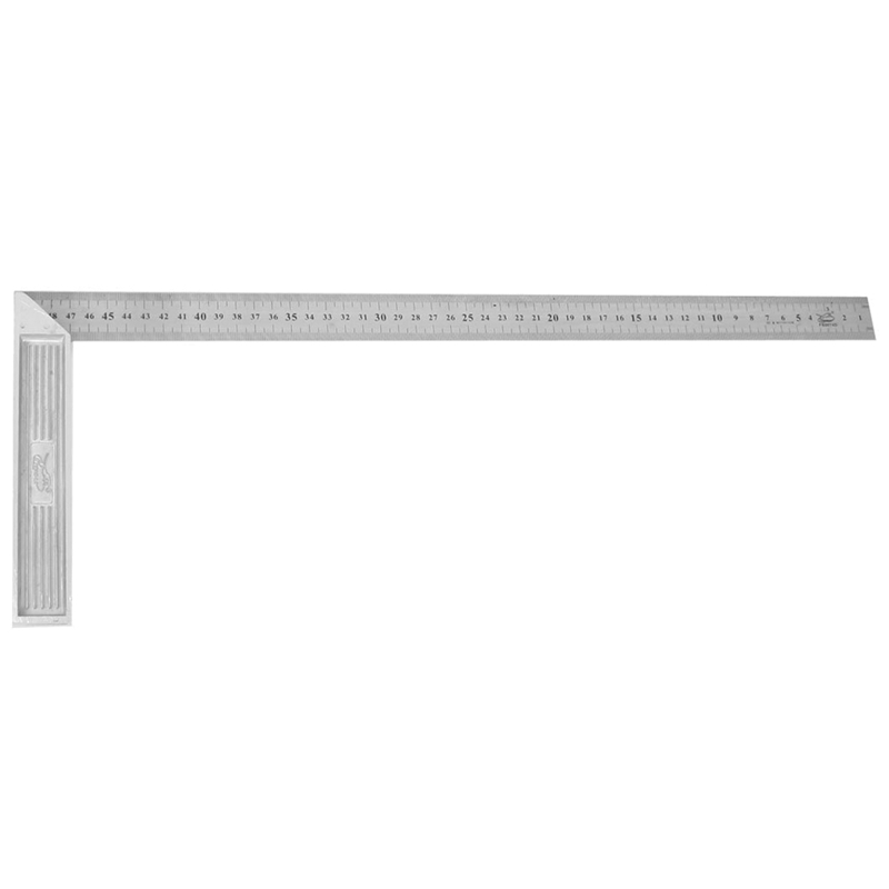 Steel 90 Degree Angle Metric 50cm Scale Ruler Sling Angle Silver