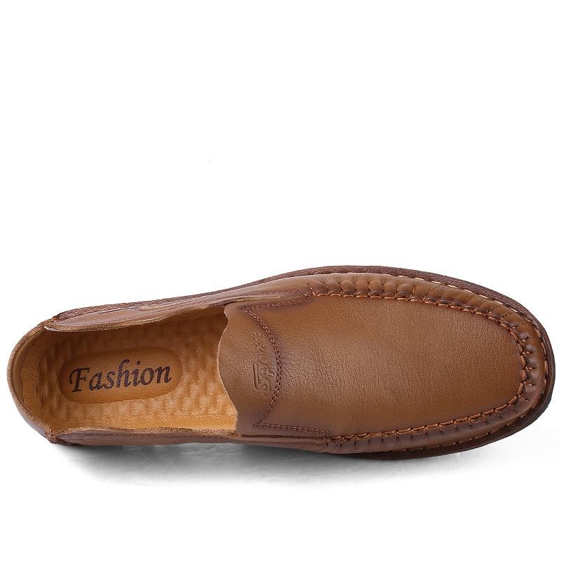 Taille Main Pour À Brown Plus Véritable Brown light Hommes La Occasionnels Mocassins ChaussuresMode khaki Chaussures Appartements Cuir Dark ZiTOXPuk