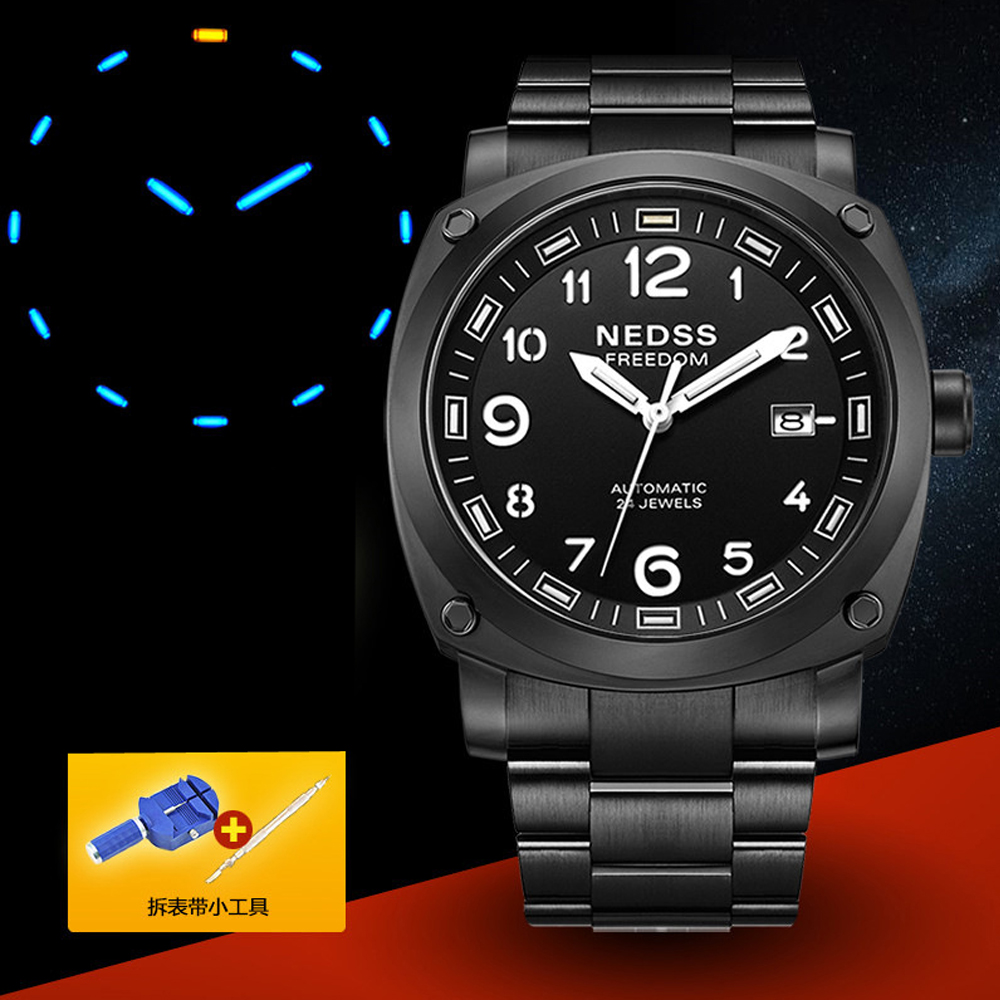 2018 NEDSS Seiko Mechanical watche mens watches Luxury top brand automatic tritium watch Full Steel sapphire Army wristwatches rga r 981 sports watche red