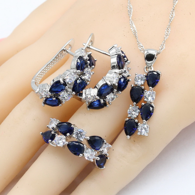 Wpaitkys Trendy Dark Blue Crystal Silver Color Jewelry Sets For Women Earrings Bracelet Necklace Pendant Ring Free Gift Box Be Novel In Design Wedding & Engagement Jewelry