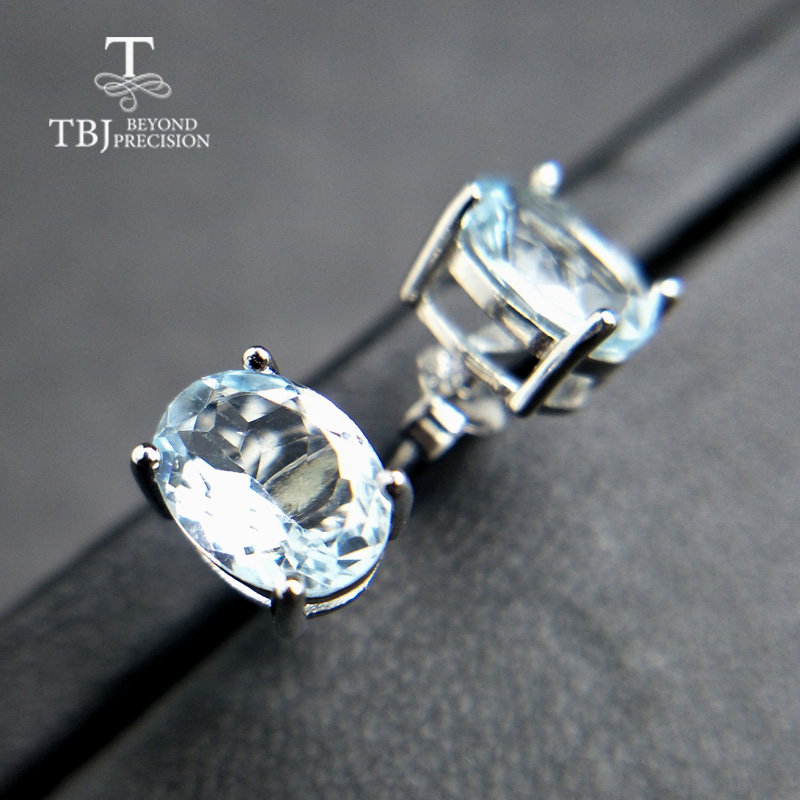TBJ,Simple gemstone earring pins with natural brazil aquamarine 2ct up oval 6*8mm in 925 sterling silver for girls daily wear tbj 2017 clasp earring with natural brazil aquamarine in 925 sterling silver jewelry natural gemstone earring classic design