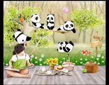 Custom 3d wallpaper for walls 3 d wall murals Cute cartoon mural hand painted small panda children room