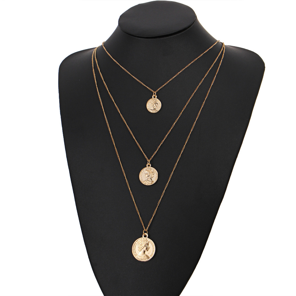 12 Pieces/Lot Gold Silver Color Necklaces Jewelry For Women Charm Clavicle Choker Beauty Face Pendant Necklace Vintage Accessory