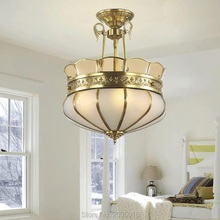 European Style Copper Lamp Pastoral Chandelier for Dining room Restaurant Modern LED Light for Bedroom Kitchen Bar 2019