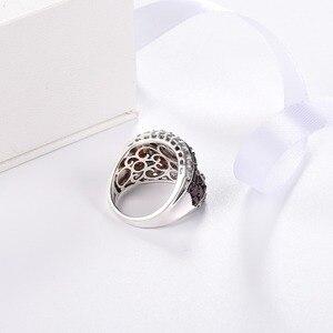 Image 3 - Hutang ガーネットリング天然トパーズ固体 925 スターリングシルバー婚約指輪赤宝石罰金エレガント女性