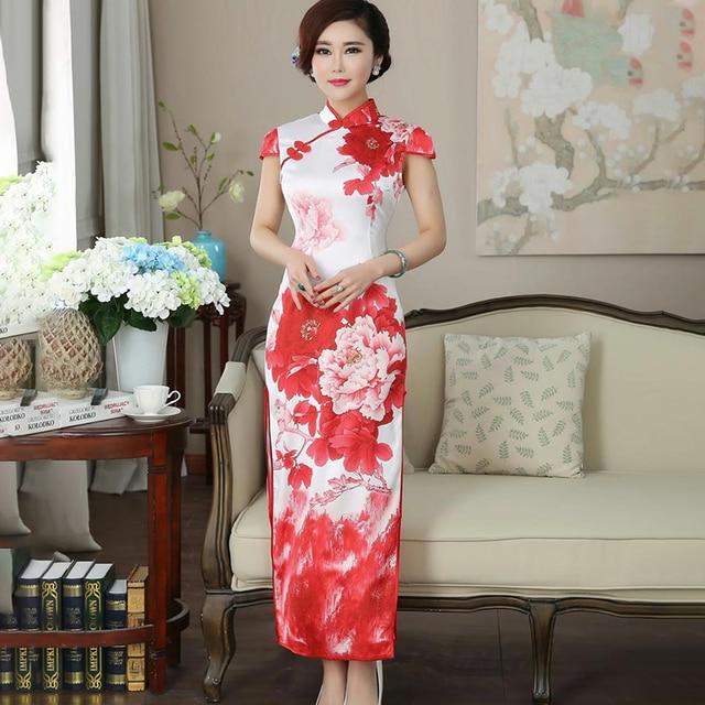 ca65bbedcdf Fasbys D été Motif de Fleur Rouge À Long Cheongsam Robe Formelle Chinois  Robes Traditionnelles