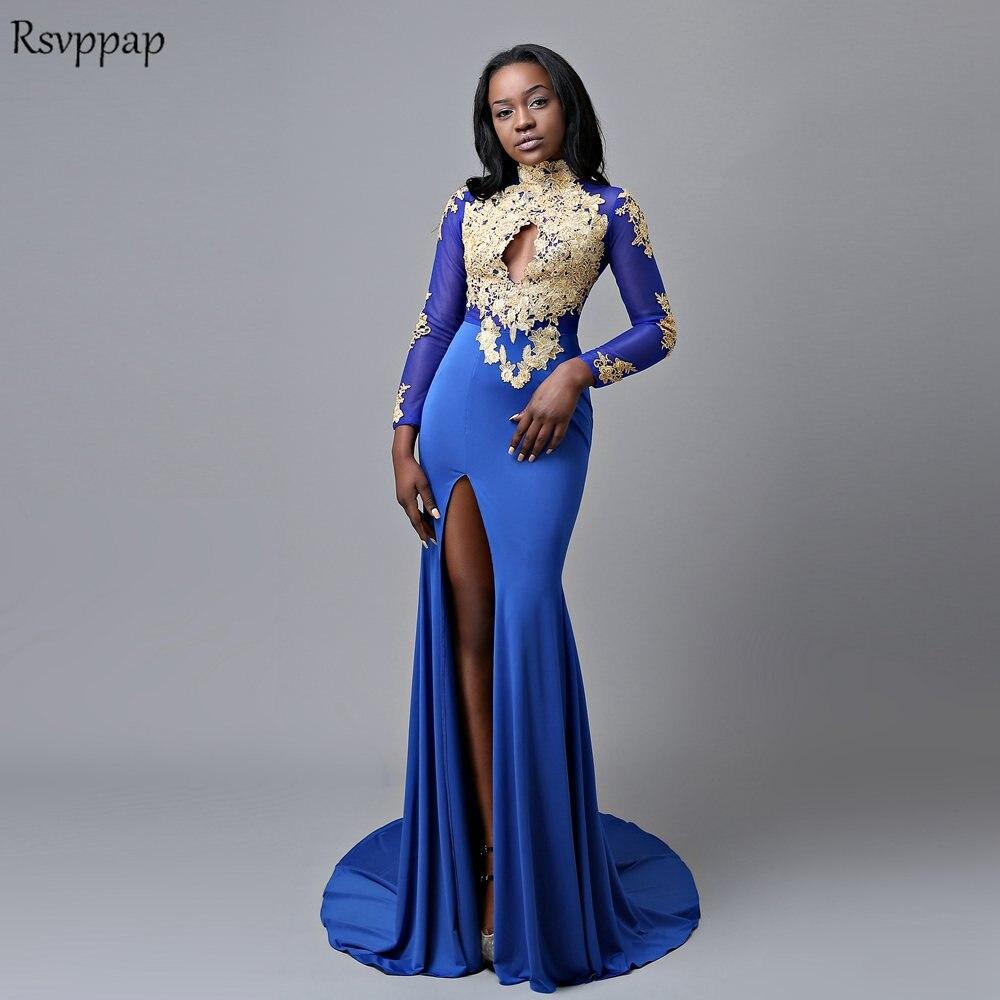 Long Elegant   Prom     Dresses   2019 High Neck Sheer Long Sleeve Gold Lace African Mermaid Royal Blue High Slit   Prom     Dress