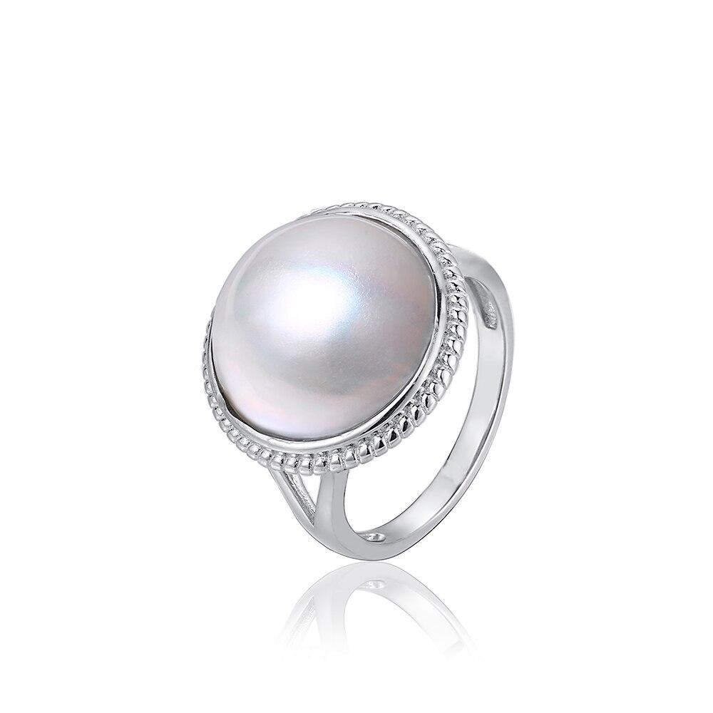 925 argent Sterling grosse perle anneaux 15-16mm ronde naturelle australie Mabe perle anneau mode blanc eau de mer perle anneaux pour femmes