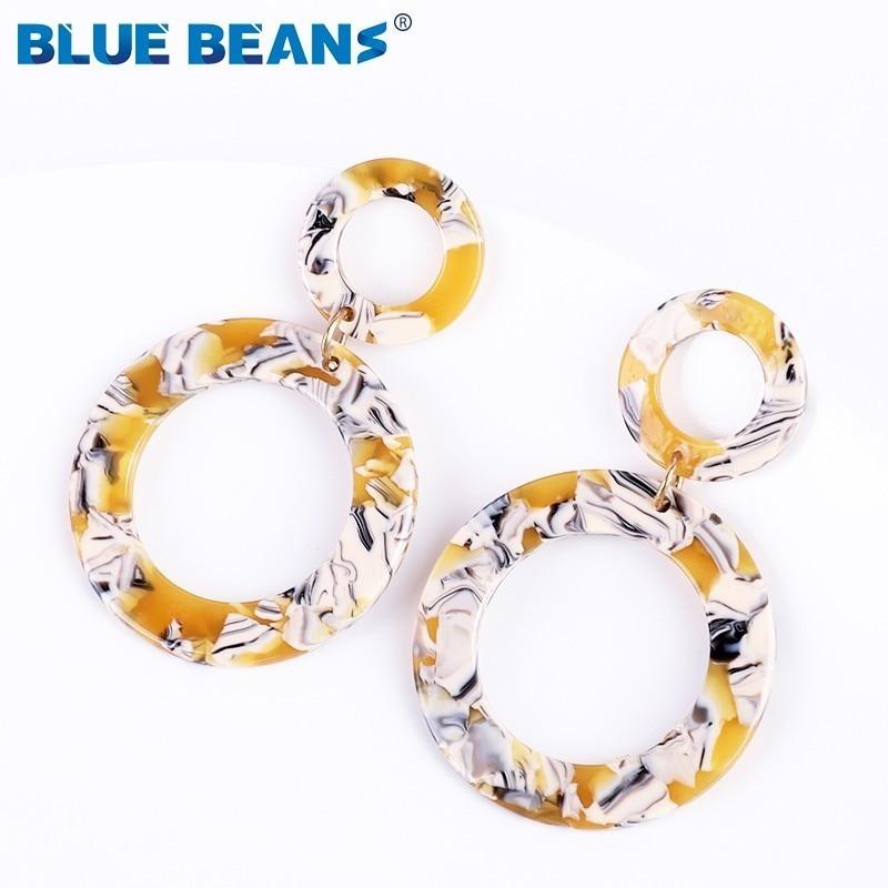 Earings Fashion Jewelry Bohemian Acrylic Small Cute Women big leaf Earings Dangle Resin Statement Geometric Boho Accessories cc