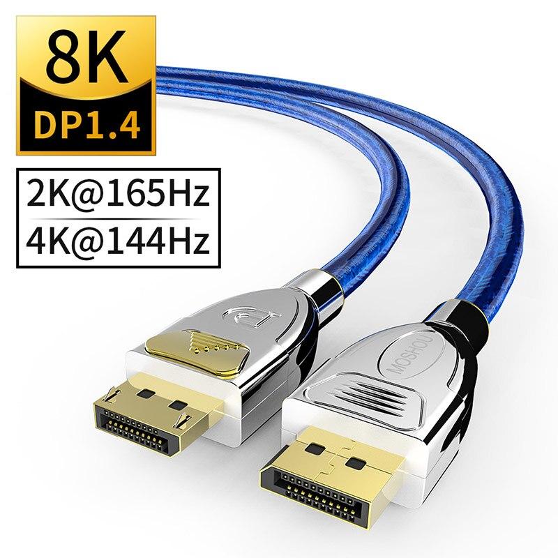 Displyport 1.4 DP Cabos Suportam 8K 60Hz 4K 144 @ Hz 120Hz MOSHOU Exibição de Compressão de Fluxo 32.4Gbps 32 bits HDR meta transporte