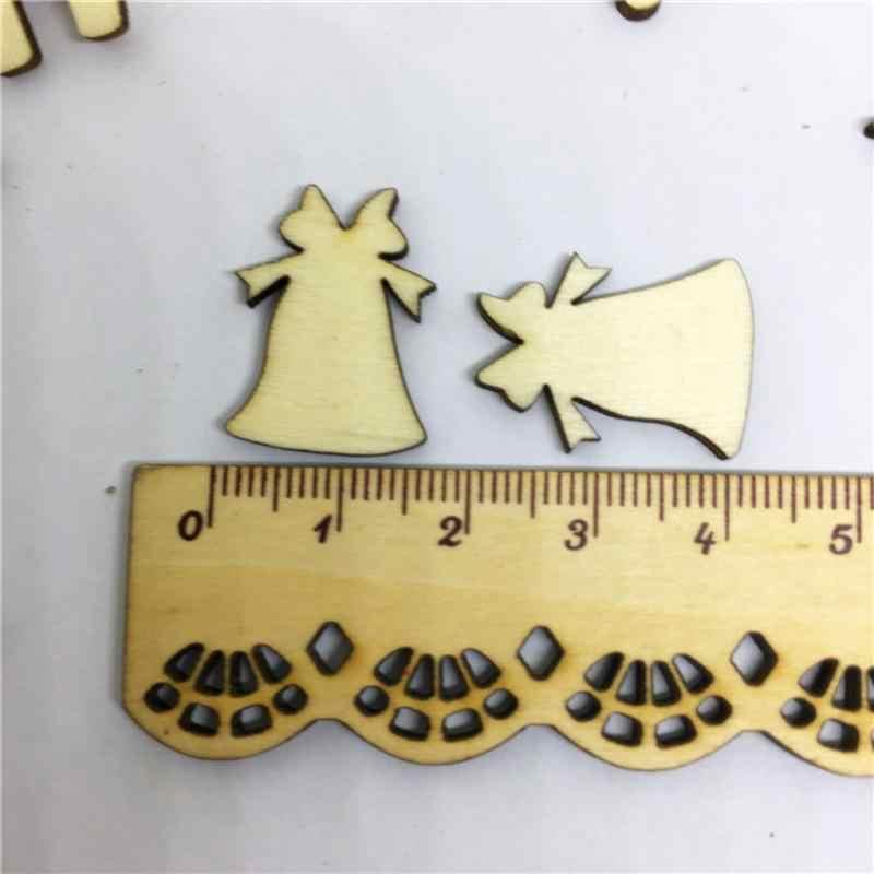 100 قطعة خشبية الحلي الرنة الشريط ندفة الثلج فارغة DIY عشوائي الحصان مختلطة الخشب شرائح الحلي الكلمات لعيد الميلاد